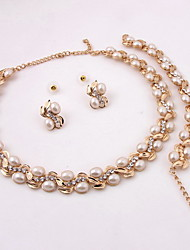 New Design Tree Leaf Style Women Costume Party Gold Plated Imitation Pearl Jewelry Sets