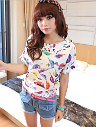 Women's Casual Chiffon Birds Print Batwing Sleeve Loose Blouse