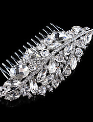 Vintage Wedding Party Bridal Bridesmaid Round Diamond Drop Crystal Leaf Hair Comb For Women