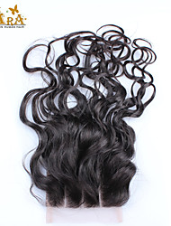"10""-20"" Peruvian Virgin Hair Water Wave Lace top Closure Color Natural Black Baby Hair for Black Women"