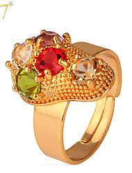 U7® Women's Cute Feet Multicolor Rhinestone 18K Gold Plated Fancy Adjustable Statement Ring