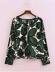 Women's New Fashion Sexy/Flower Print Inelastic Long Sleeve Regular Blouse (Chiffon)