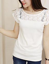 Mulheres Camiseta Manga Curta Renda/Nylon Mulheres
