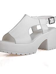 Zapatos de mujer - Tacón Robusto - Punta Abierta - Sandalias - Oficina y Trabajo / Vestido - Cuero - Negro / Blanco
