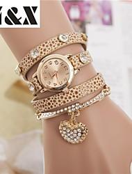 Montre coeur de diamant bracelet analogique perle de quartz des femmes (couleurs assorties)