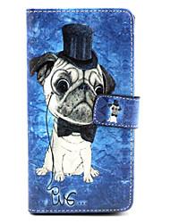 motif de chien étui en cuir PU avec bouton pression magnétique et lecteur de carte pour wiko arc-en-