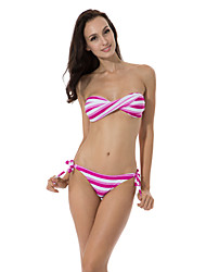 RELLECIGA  Kaleidoscope Collection – Red & White Stripe Twist Bandeau Top with Removable Halter Strap