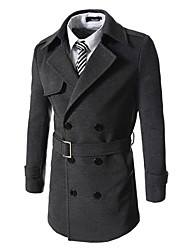 Men's Solid Casual Trench coat,Cotton Blend Long Sleeve-Black / Brown / Gray