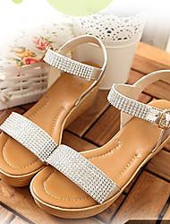 Sandalias ( Plateado/Dorado Zapatos con plataforma/Punta abierta - Tacón Cuña - Piel - para MUJERES