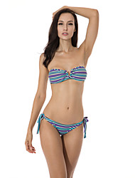 """RELLECIGA Purple/Blue Multi Stripe Bandeau Top with a Sexy Open """"V"""" Wire at Center Front Bikini"""