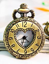 a forma di cuore con linea europeanround vigilanza della collana del quarzo di modo della vigilanza di tasca delle donne