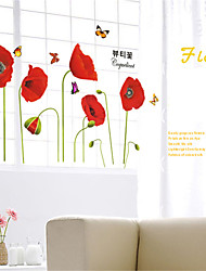 Wall Stickers Wall Decals, Red Flowers PVC Wall Stickers