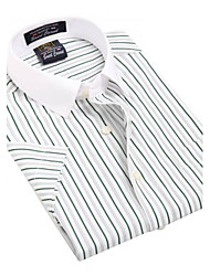 U&Shark Casual&Fashion Men's  Short Sleeve   White Collar Shirt with Green Stripes  /DXBL01