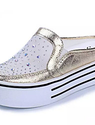 Women's Shoes Flat Heel Round Toe Loafers Casual White/Silver/Gold