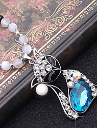 Fashion Blue Alloy Flower Necklace for Women, Weddding Accessories Pendant with Rhinestones for Ladies