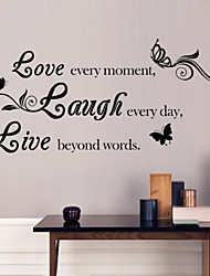Wall Stickers Wall Decals, Style Love & laugh & live English Words & Quotes PVC Wall Stickers
