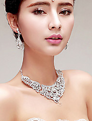 Gorgeous Rhinestone/Titanium Necklace With Earings