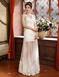 Sheath/Column Floor-length Wedding Dress -V-neck Satin