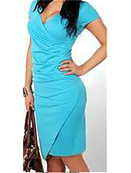 Women's Sexy/Bodycon V-Neck Sleeveless Dresses (Knitwear)