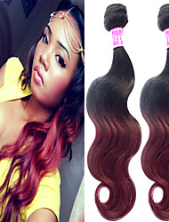 """3 Pcs/Lot 12""""-26"""" 100% Malaysian Unprocessed Virgin Human Hair #1B-Burgundy Color Ombre Body Wave Hair Weaves"""