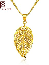 Flower's Secret 14k Yellow Gold Plated Placer Leaves Pendant with 18'' Necklace Never Fade Gold Quality