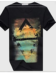 Newly Wholesale Coconut Palm Painting Printing Slim Casual Regular Men T-shirt Short Sleeve O-Neck Cotton Tees
