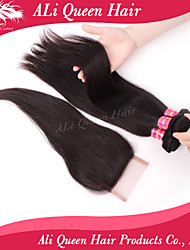 Ali Queen Hair Products 3Pcs 6A Brazilian Hair Straight With 1Pcs 4*4 Swiss Lace Closures 100% human hair