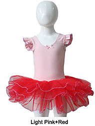 Light Pink Cotton/Lycra Top with Red Tulle Skirts for Ladies and Girls