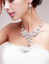 Gorgeous Rhinestones Titanium Wedding/Party Necklace with Earings