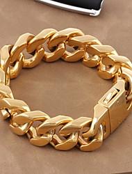 Муж. Жен. Для пары Браслеты-цепочки и звенья Классика Pоскошные ювелирные изделия бижутерия Золотистый Титановая сталь Позолота Бижутерия