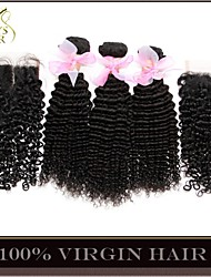 4Pcs Lot Indian Kinky Curly Virgin Hair With Closure 3Bundles Unprocessed Indian Remy Human Hair Wefts With Lace Closure
