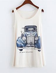 Women's Round Collar Car Print Tank Top