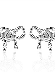 lureme®Fashion Style Silver Plated With Zircon Bow Shaped Stud Earrings