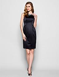 Lanting Sheath/Column Plus Sizes / Petite Mother of the Bride Dress - Black Knee-length Sleeveless Satin