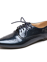 Women's Shoes Patent Leather Low Heel Pointed Toe Oxfords Casual Black/Blue/White