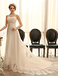 A-line Wedding Dress - Ivory Chapel Train Sweetheart Organza