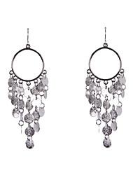 Fashion Women Multi Metal Disc Drop Earrings