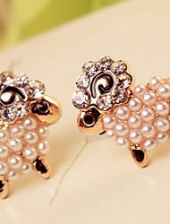 Stud Earrings Pearl Imitation Pearl Rhinestone Simulated Diamond Alloy Jewelry 2pcs