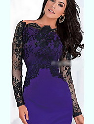 Women's Lace/Work Off-the-shoulder Long Sleeve Dresses (Lace/Polyester)