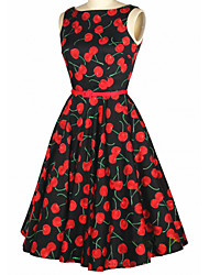 Women's Vintage Slim Cherry Printing Sleeveless Dress(With Belt)
