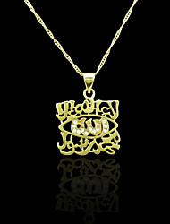 18K plaqué or véritable allah musulman pendentif zircon 2,7 * 3.6cm