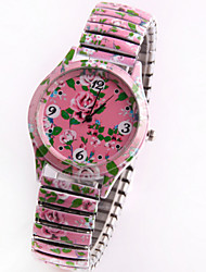 arbeiten Sie koreanische Stil Blume Diamanten Charme Druck Frauen Rosenquarz analoge Armbanduhr