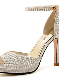 Women's Shoes Leather Stiletto Heel Heels/T-Strap Sandals Dress White/Gold