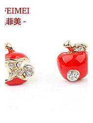 Korean jewelry earrings dripping apple bite asymmetry