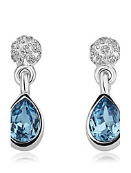 Earring Drop Earrings Jewelry Women Gemstone & Crystal / Gold 2pcs Blue