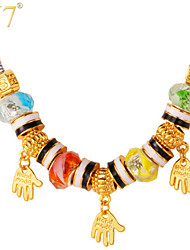 U7® Women's Cute Hands Charms 18K Gold Plated Crystal Beads European DIY Beaded Necklace