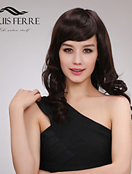 Temperament Capless Medium Length Curly Human Hair Wigs with Side Bang
