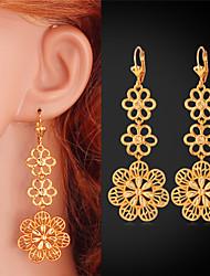 U7 New Cute Long Chandelier Earrings Hollow Flowers Delicate Drop Dangle Earrings Jewelry for Women High Quality