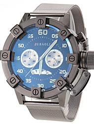 reloj de pulsera de cuarzo de banda de acero negro de diseño militar de los hombres