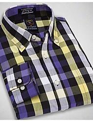 U&Shark New Hot! Men's Soft Business 100% Cotton Long Sleeve Shirt with Blue Yellow Black Check/MSX002
